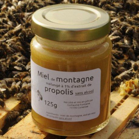 Miel de montagne mélangé à la propolis (sans alcool)