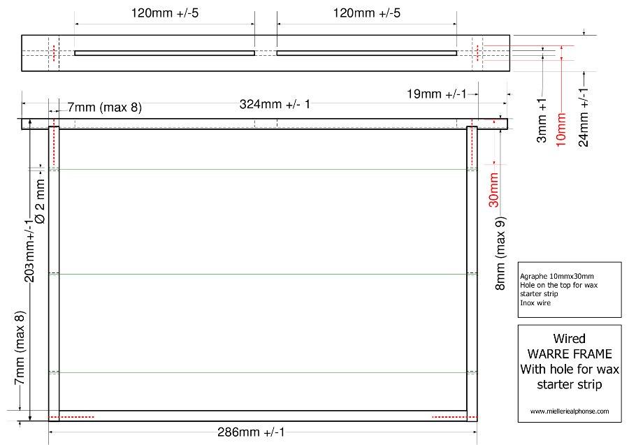 Haut Plans standards de cadre Warré - Apiculture et Ruche Warre  KQ13